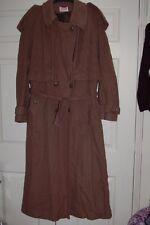 New 12-16 Dark Tan Long Tall Sally Cashmere Wool Maxii Full Length Coat Belt