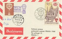 TSCHECHOSLOWAKEI 1968, PRAGA Ballonpostbeleg mit Pilotenunterschrift (Scheer)