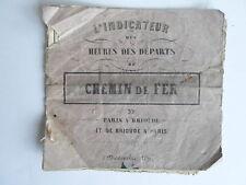 Indicateur CHEMIN de FER heures des départs PARIS BRIOUDE BRIOUDE PARIS 1859