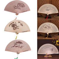 Chinese Traditional Hollow Fan Wooden Hand Made Exquisite Folding Wedding Fans