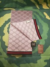 Brand New Gray & White Reversible Gucci Solange Wool Scarf Guccissima Pattern