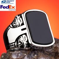 925 Sterling Silver Turkish Jewelry Eagle Black Onyx Stone Mens Ring All Sizes