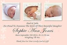 40 Personalised Baby Thank You Announcement cards GIRL  Posted First Class