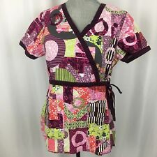 KOI KATHY PETERSON Medium M Patchwork Geometric Katelyn Wrap Nurse Scrub Top