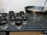 Mid Century Modern  Dorothy Thorpe Cocktail Glasses Silver Band & Punch Bowl