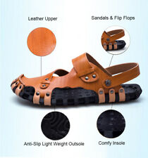 Men's Close Toe Leather Fisherman Sandals Shoes Sport Casual Slippe