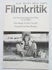 Critique NR 207, mars 1974, wim wenders, Don siegel,