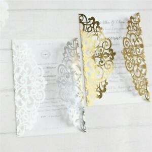 10PCS Laser Cut Party glitter light gold Birthday Invitations Card