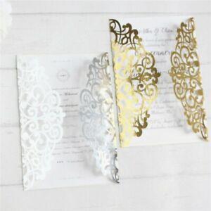 10PCS Laser Cut Party glitter light gold Birthday Invitations Card
