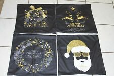 Set of 4 Christmas Pillow Covers Lot of 4, Black & Gold Deer Santa Stars 17.5""