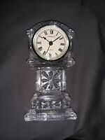 Vintage Godinger Shannon Clear Crystal Quartz Clock 6.75 Inch Grandfather Shape