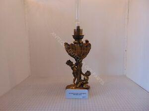 SMALL BRONZE ART NOUVEAU OIL LAMP