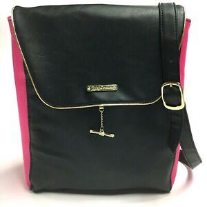 Juicy Couture Women's Black & Pink Magnetic Closure Backpack Bag Purse Satchel