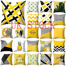 Modern Scandi Geometric Cushion Mustard Yellow and Grey Sofa Case Cover UK Stock