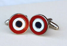 FRANCE FRENCH AIR FORCE ROUNDEL TARGET TRICOLORE CUFFLINKS               (M34C)