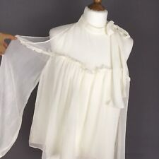 Zara Cold Shoulder Long Sleeve Cream White Sheer Top L Large Tie Halter Neck