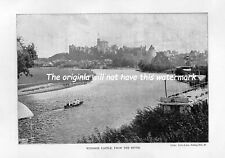 WINDSOR CASTLE FROM THE RIVER ORIGINAL PRINT 1902 YORK & SON NOTTING HILL