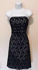 White House Black Market Ivory Black Lace Overlay Strapless Cocktail Dress 0