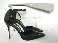 Manolo Blahnik Trova Cap Ankle Strap Pointy Toe Black Leather Pump 38/8