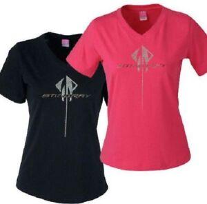 Corvette C7 Stingray Logo Rhinestone Ladies T-Shirt Pink OR Black