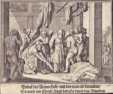 Werke der Barmherzigkeit Heiligenbild Andachtsbild Kupferstich (Flo-5006