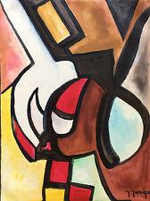 Art Abstrait gouache signée Jungo 2ème moitié XXè