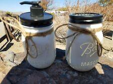 Farmhouse Shabby Chic Mason Jar Soap Dispenser/Toothbrush Holder white