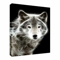 Fractal white wolf Canvas Wall Art Picture Print