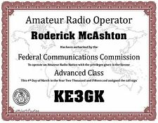 Amateur Radio Operator * Ham Radio * License Certificate