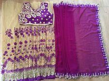 Indian Bollywood Latest Design Beautiful Thread work Saree Party Wedding Wear