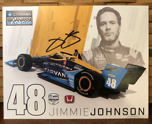 2021 JIMMIE JOHNSON INDIANAPOLIS 500 HERO CARD POSTCARD INDY CAR AUTOGRAPHED