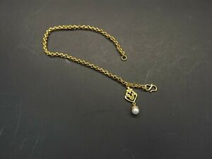 """24K (9999) pure solid gold anklet 12.3 grams 9-1/2"""" LONG with pearl and charm"""