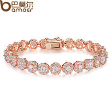18K Rose Gold Plated Bracelet Chain For Women Flower AAA Zircon Shining Jewelry