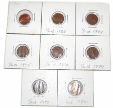 New Half Penny Coin Lot UK Great Britain 1971 1973 1974 1975 1976 1977 1979 1982