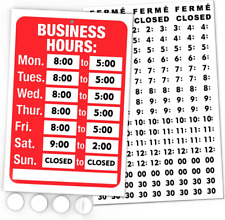 Open Signs Business Hours Sign Kit Bright Red And White Colors Includes 4