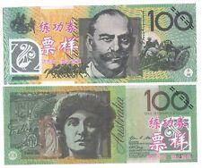 AUSTRALIE AUSTRALIA 100 DOLLARS  TEST NOTE ECHANTILLION CHINOIS SANS VALEUR