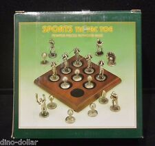 Sports Tic Tac Toe Basketball Pewter Pieces w/ Wood Base Board Game