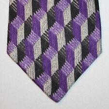 NEW Geoffrey Beene Silk Neck Tie Purple with Black and Gray Pattern 1424