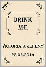 8x WINE BOTTLE DRINK ME STICKERS VINTAGE CREAM PERSONALISED WEDDING GIFT LABELS