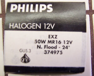 PHILIPS ACCENT 1200 EXZ 50W MR16 12V. NARROW FLOOD 24 GU5.3 LIGHT BULB NIB
