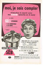 PUBLICITE ADVERTISING  1959   SEB   super  cocotte- minute 2