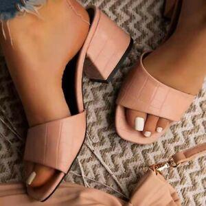 Women Square Toe Med Block Heels Pump Slide Slippers Sandals Slip On Mules Shoes