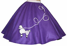 "Purple FELT 50s Poodle Skirt _ Adult Size SMALL _ Waist 25""- 32"" _ Length 25"""