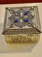 Antique 1920s Empire Art Gold E & JB Gilt Metal Dresser Box Jewel Casket w Muses