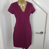 DKNY Dress Pencil Cap Sleeves Stretch Plum Size 4 UK 8 Occasion