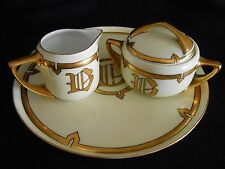 ANTIQUE ROSENTHAL DONATELLO CREAMER and SUGAR with HAVILAND FRANCE TRAY - 1917