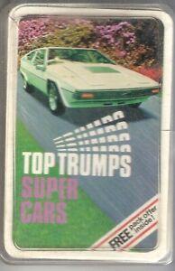 Vintage Top Trumps Sports Cars card game, complete 32 card set