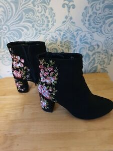 M & S Collection Insoliia Black Faux Suede Floral Embroidered Ankle Boots 38.5