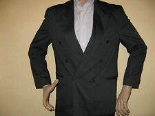 WORN ONCE MENS YOUTHS SHINY BLACK DOUBLE BREASTED SUIT 38R CHEST 30 WAIST 29 LEG