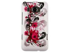 Hard Plastic Cover Snap On Phone Protector Case Red Flower for HTC Titan II